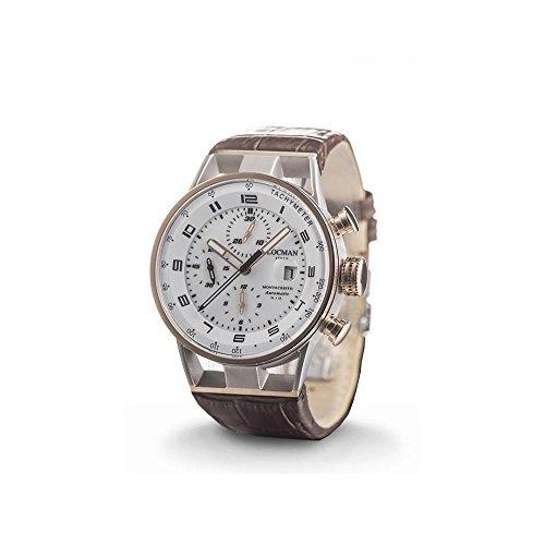 Montre Locman Montecristo 0516m08s-00whbkpn automatique acier Quandrante Blanc Bracelet Cuir