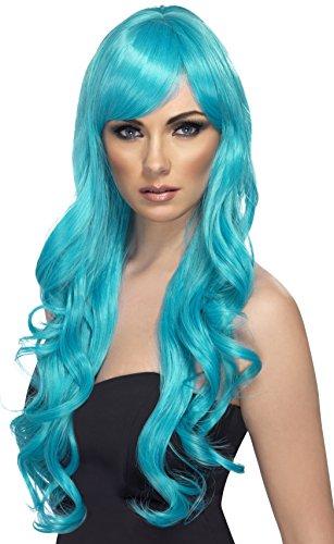 kis türkise lockige Langhaarperücke für Damen sexy heiße Damenperücke Langhaar Lang Haar (Heißes Halloween-kostüm Ideen)