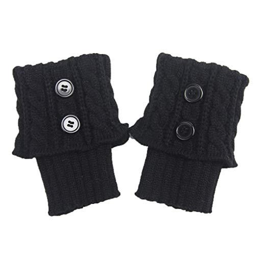 Meisijia 1 Paar Damen Short-Knopf Crochet Beinlinge Winter Herbst Knit Stiefel Stulpen Socken Stiefelwärmer Stiefel Toppers Gaiters -