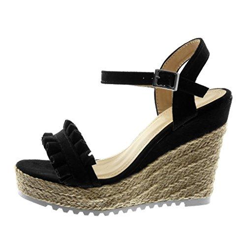 Angkorly Chaussure Mode Sandale Espadrille Lanière Cheville Semelle Basket Plateforme Femme Corde Tréssé à Volants Talon Compensé Plateforme 11.5 cm Noir