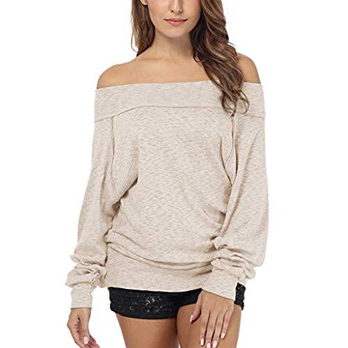 SANFASHION Damen Pulli Frauen Off Shoulder Pullover Langarmshirts Slim Fit Dolman Sleeve Schulterfrei Sweatshirt Feste Shirt Tops - Jerzees Sweatshirt Winter