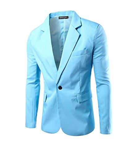 Herren Sakko Blazer Slim Fit Business Lässig Ein Knopf Jacke Blazer Sakko Hellblau XL