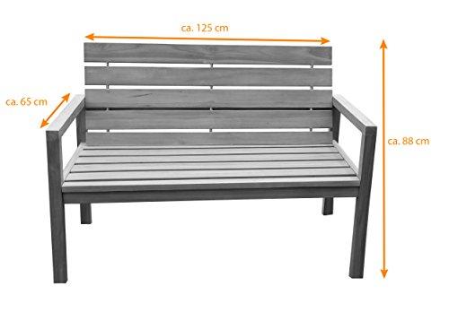 SAM® Teak-Holz Gartenbank mit Rückenlehne, massive Sitzbank für bis zu 2 Personen, ideal für Garten Terrasse Balkon oder Wintergarten, ca. 125 x 65 cm [521212] - 2