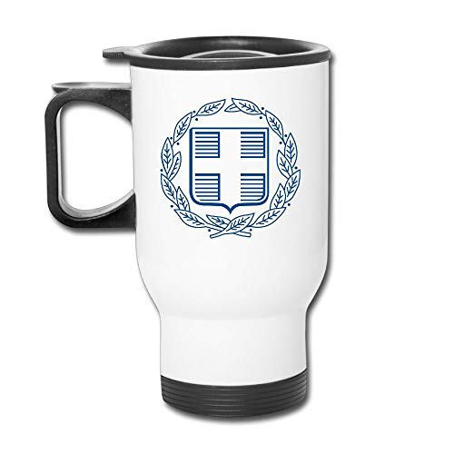 QIUJUAN Coat Of Arms Of Greece Personalized Stainless Steel Travel Coffee Blank Mug Car Coffee/Tea Mug Cup With Handle 400ML