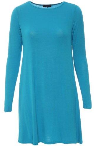 Baleza - Mini Robe Courte Femme Uni Jersey Manche Longue Evasé Turquoise