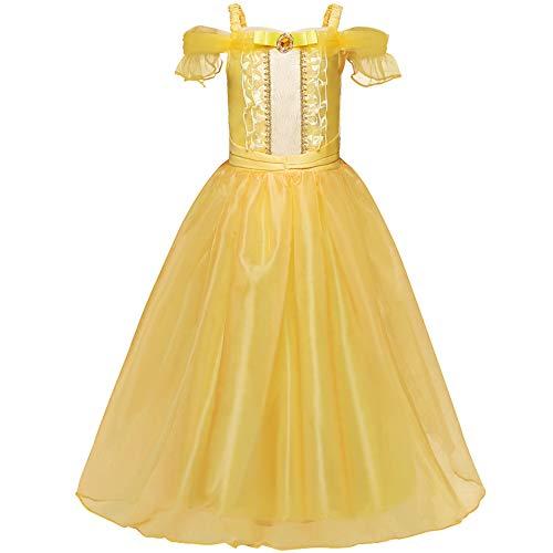cilyberya Prinzessin Belle Mädchen verkleiden Sich Kostüme Fancy Party Dress Kids Halloween Geburtstag Pageant Holiday Karneval Cosplay - Belle Kostüm Kid