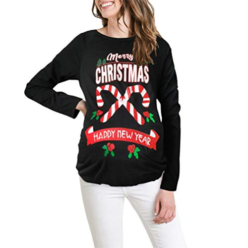 SoonerQuicker Damen Jacke Herbst lang Merry Christmas Print Pregnants