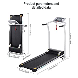 Mini Folding Electric Treadmill Running Training Fitness Home Office Gym with Rolling Wheels [UK STOCK] from Lonlier