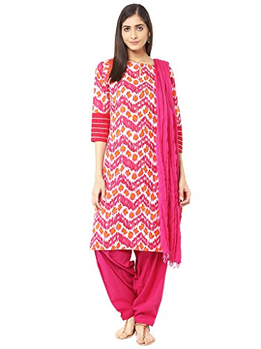 Jaipur Kurti Rani Pink Embroidered Salwar Suit with Dupatta(JKPTD2792-XL_Rani Pink_x-large)