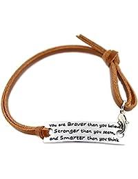 """Angelus """"you are braver than you believe"""" inspiración Pulsera de cuero ajustable marrón"""