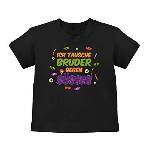 Fashionalarm Baby T-Shirt - Halloween - Tausche Bruder | Baby-Shirt mit Spruch Kostüm Motiv lustige Geschenk-Idee für Jungen Mädchen Geschwister, Schwarz 3-6M (60-66 (Kostüm Für 3 Geschwister)