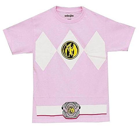 Male Power Costume Ranger - Power Rangers Pink Ranger Mens Costume T-Shirt