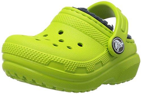 Crocs Classic Lined Clog Kids, Unisex - Kinder Clogs, Grün (Volt Green/navy), 22/23 EU