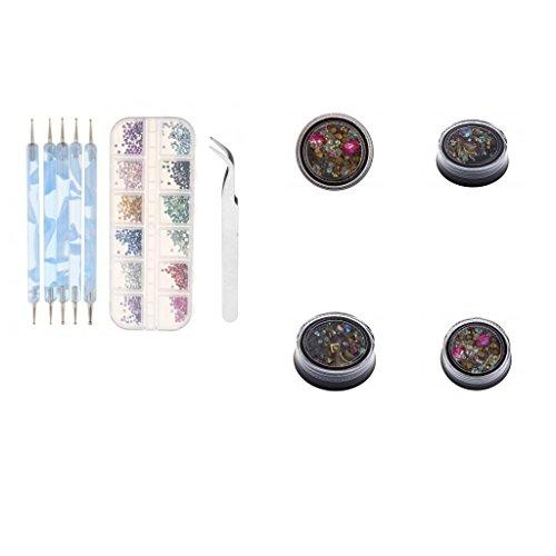 MagiDeal Nail Art Décor Strass Studs Gems Perle Glitters à Décoration Vernis à Ongles + Dotting Stylos + Pince à Epiler - Kit Accessoire Manucure