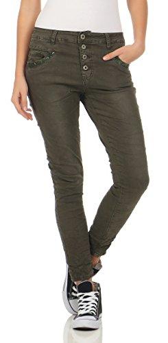 Lexxury Damen Boyfriends Baggy Stretch Jeans destroyed Look Damenhose Hüftjeans Pailletten Fife Pocket S (36) L7118-4 green (4-pocket-jeans)