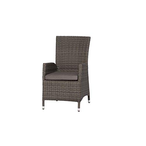 Siena Garden Dining Sessel Porto, 68x60x100cm, Gestell: Aluminium, Fläche: Gardino-Geflecht in grau, Kissenbezug aus Polypropylen mit 280g/m² in grau