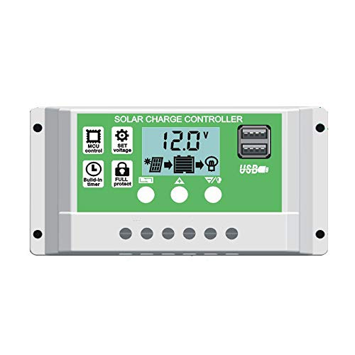 Y&H 10A Solar Panel Charge Controller for 12V 24V Lead Acid/Lithium Battery with Dual USB Backlight LCD Display and Timer Setting ON/Off Hours Drop-off-panel