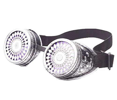 unk Schutzbrille Partybrille Rave Kostümzubehör Musikfestival Punk Cyber Goth Cosplay Gläser Sonnenbrille Mit Led Licht für Damen und Herren ()