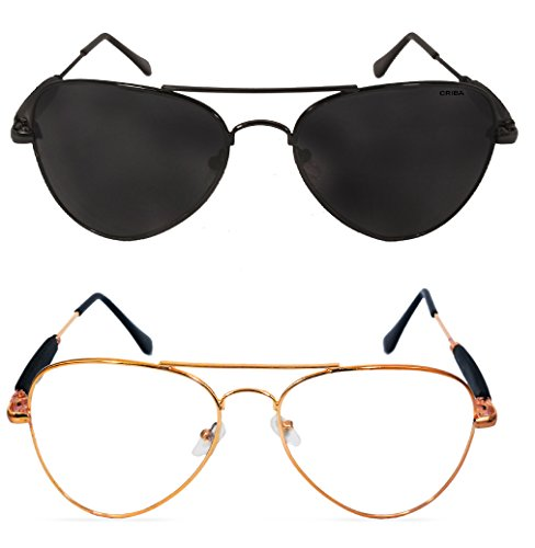 Criba Combo Of 2 Black (Black) Golden (Clear) Unisex Fashionable & Elegant Sunglasses_ aviator funky blk blk+gldn clr_CRLK