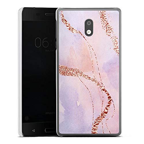 DeinDesign Hülle kompatibel mit Nokia 3 Handyhülle Case Marmor Look Glitzer UtArt