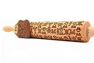 gravierte teigrolle nudelholz mit dem pirat muster aus buchenholz k che haushalt. Black Bedroom Furniture Sets. Home Design Ideas