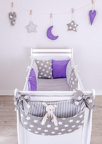 Preisvergleich Produktbild LOOLAY® 14 Tlg Set Nestchen 210 cm + Bettwäsche 100x135 + Betttasche + Hängedeko für Babybett Bettumrandung Bettnestchen Kopfschutz TG5
