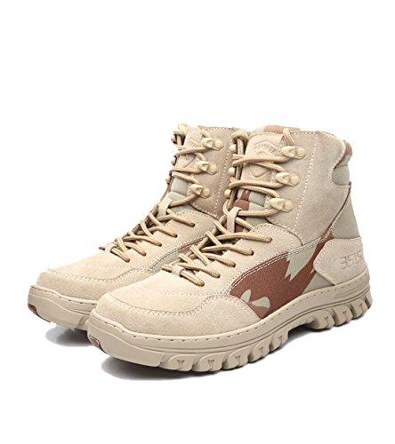 Chaussures de randonnée en cuir confortable pour homme militaire High Rise Chaussures de marche kaki