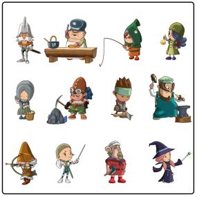 There are 12 lives to choose from, including Magician, Hunter, Blacksmith, and Tailor