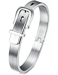 AnaZoz Joyería de Moda Pulsera de Hebilla de Cinturón Acero Inoxidable Negro Plata Para Mujer Hombre Simple Personalidad