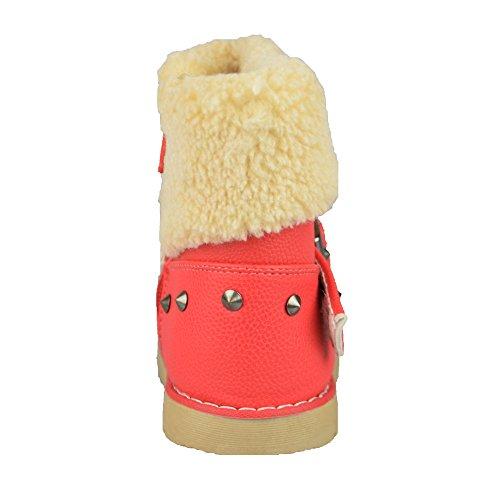 BTS kinderschuh innengefüttert winterboots, avec fermeture velcro et chic et confortable-couleur :  fuchsia-taille :  22–27 Rose - Fuchsia