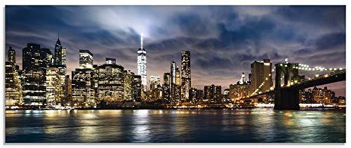 Artland Qualitätsbilder I Glasbilder Deko Glas Bilder 125 x 50 cm Skyline New York Panorama Manhattan Sonnenuntergang C8WV