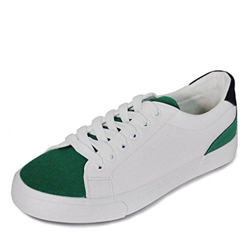 Damen Sneaker Rundzehen Flach Canvas Atmungsaktiv Leicht Rutschhemmend Klassisch Strapazierfähig Bequem Topaktuell Schnürschuhe Weiß Grün