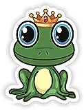 Tiukiu Cute Frog Smiling Prince King Vinyl Sticker for Laptop Book Fridge Guitar Motorcycle Helmet Toolbox Door Luggage Cases