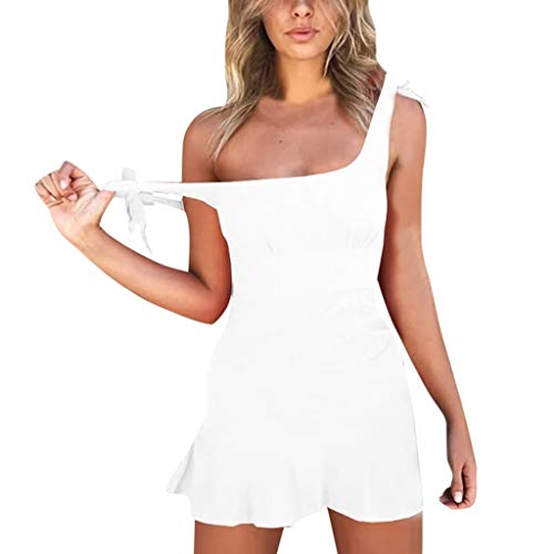 iYmitz Sommer Frauen Minikleid Reizvolle Art und Weisebügel ärmelloses Dünnes Kragen Hohe Taillen Miniparty Oberteile Rocks Strandkleid(Weiß,EU-40/CN-XL)