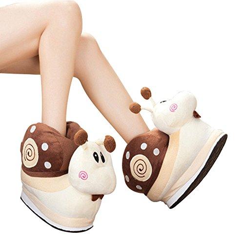 Eastlion Schnecken Form Eltern Kind Winter Warm Hausschuhe Home Indoor Schuhe Kaffee (erwachsene Größe)