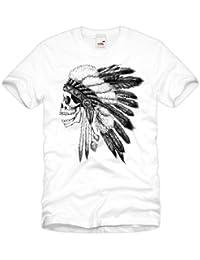 style3 Biker Indian Skull Homme T-Shirt Crâne moto motocycle tattoo tatouage