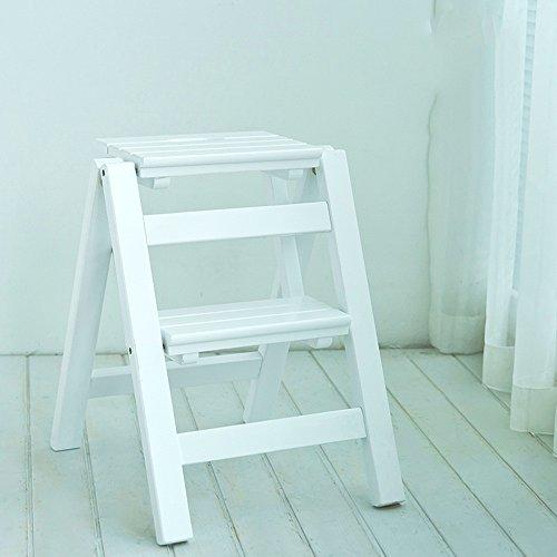 36 AHY Hocker Ottomane Massivholz-Haushaltsleiter/Multifunktions-Klappleiter/Indoor-Kletter-DREI-Stufen-Leiter/verdickt Dual-Use-Leiter Hocker (Color : C, Size : 38 * 46 * 50cm)