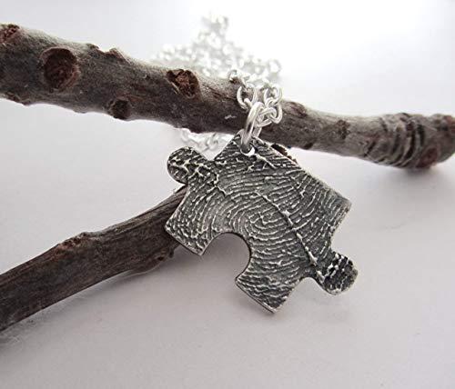 Ihr Fingerabdruck Puzzle Schmuck Anhänger Echte Silber Schlüsselanhänger Andenken Hochzeit Individuell (Fingerabdruck Schmuck)