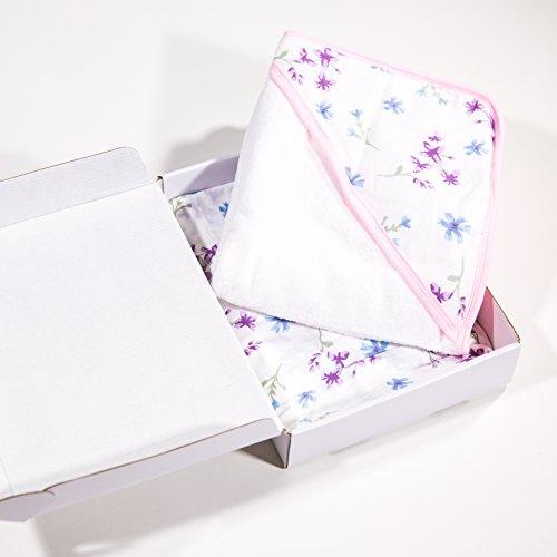 Set aus Baby Kapuzen-Handtuch & unverzichtbarem Allzweck Baumwoll-Tuch | Perfekt auch als Geschenk: Wunderschön verpackt | PREMIUM QUALITÄT: 100% kuschelweiche Bio-Baumwolle, Blumen