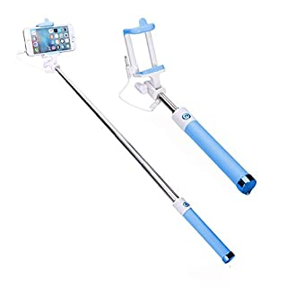 Aeeque Blue Wired Selfie Stick, Universal Extendable Monopod Selfie Stick Case For iPhone 7 6 6S Plus SE 5S/Samsung Galaxy S6 S7 Edge A3 A5 J5 J7/Huawei P8 Lite/Xiaomi 3.5~6 inch Smart Phone