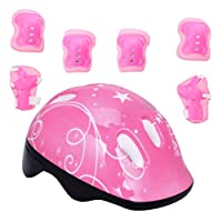 Toyvian Pink Kids Protective Gear Set Adjustable Size Helmet with Knee Pads Elbow Pads Wrist Guards for Skateboard Cycling Hoverboard Scooter Rollerblading Gifts