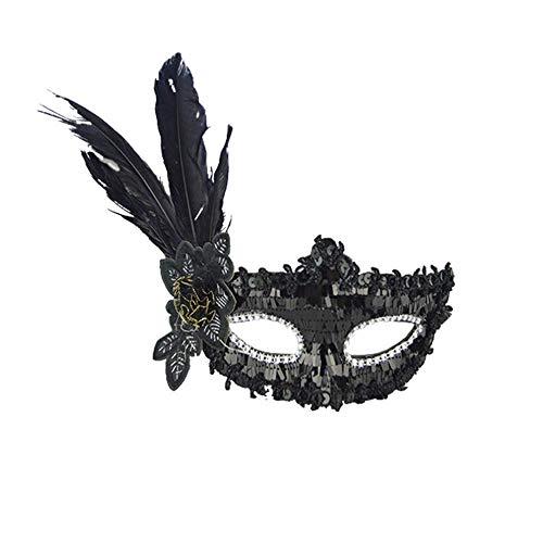 Qiusa Halloween Sexy Feder Pailletten Elegante Augenmaske Maskerade Ball Karneval Fancy Party (Farbe : Schwarz)