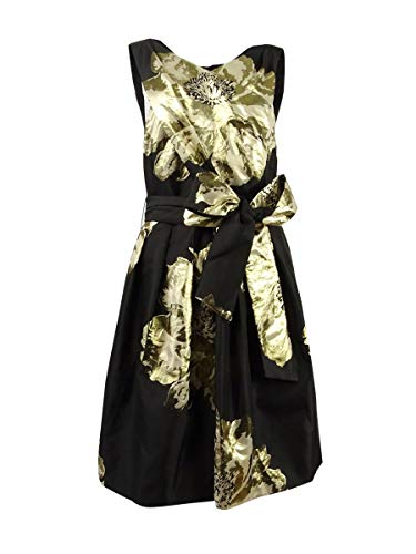 Tahari by ASL Womens Floral Wrap-Bodice Party Dress