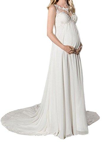 NUOJIA EmpireTaille Lange Chiffon Mutterschaft Brautkleider zum Schwanger Frau Hochzeitskleid mit Appliques Weiß 38 (Kirche Applique)