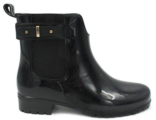 Maxmuxun Chaussures Femme Botte de Pluie En Caoutchouc Ceinture à Côté EU 36-41 Noir