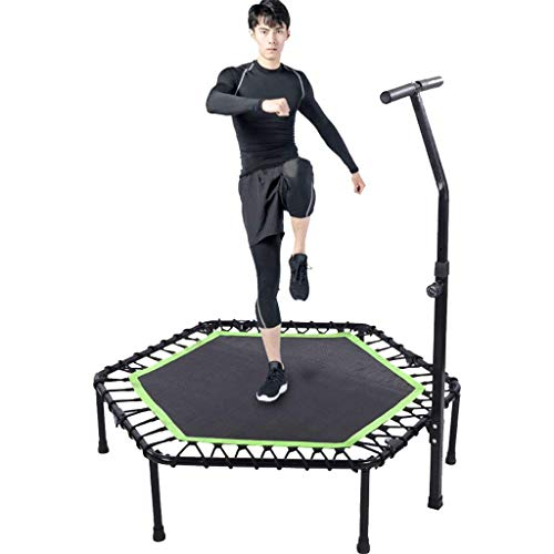 Bxxiu Handläufe 48 in Mini-Sporttrampolin, verstellbare Armlehnen für Erwachsene und Kinder, Fitness-Rebounder-Trampolin für Innen und Außen, geräuschloses und sicheres Bungee-Cord-System