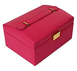 Clearance Sale - Travel Friendly Jewellery Box cum Organizer - Hot Pink (JB-001185-PK)
