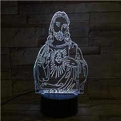Idea Regalo - Luce notturna 3D Gesù Figura 7 Colori Cambia Notte Lampada LED 3D Lampada da tavolo per camera da letto Lampada da letto Home Decor Art Decor