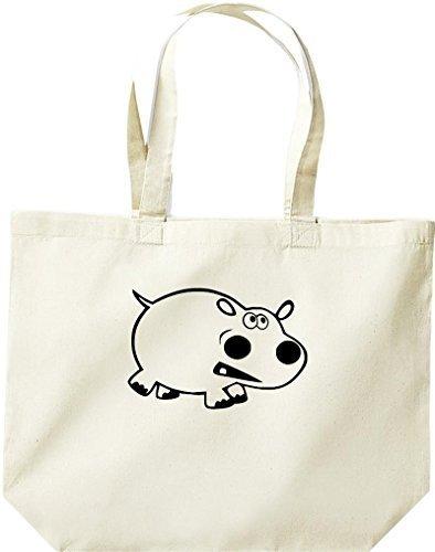 grande borsa della spesa, SHOPPER FUNNY animale ippopotamo Naturale