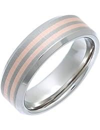 Theia Ring Flach Matt 7 mm Titan und Rose Gold Inlay 9ct Gr. 50 (15.9)